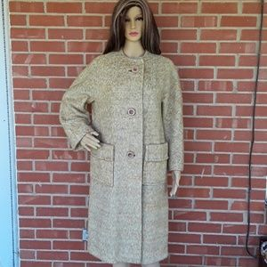 Vintage 60s wool Tweed trench coat size XL